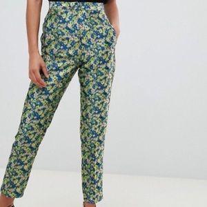 ASOS disty floral jacquard slim pants